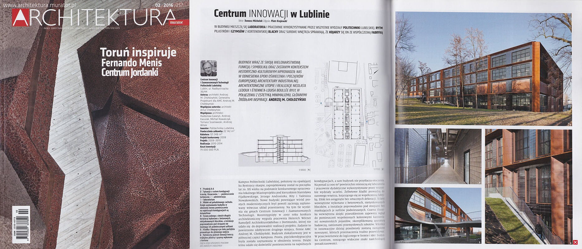 Center for Innovation and Advanced Technologies of the Lublin University of Technology in Lublin - Architektura Murator 02/2016